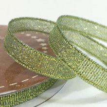6mm Golden Accents Ribbon Sparkly Green