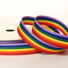 15mm Grosgrain Ribbon Rainbow Stripe