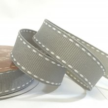 15mm Side Stitch Ribbon Silver
