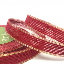 13mm Hessian Ribbon Red with Gold Edge - 18m