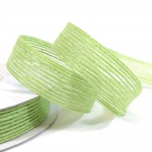 15mm Hessian Ribbon Green