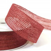 25mm Hessian Ribbon Red