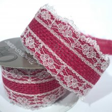 38mm Hessian Ribbon Pink with White Lace
