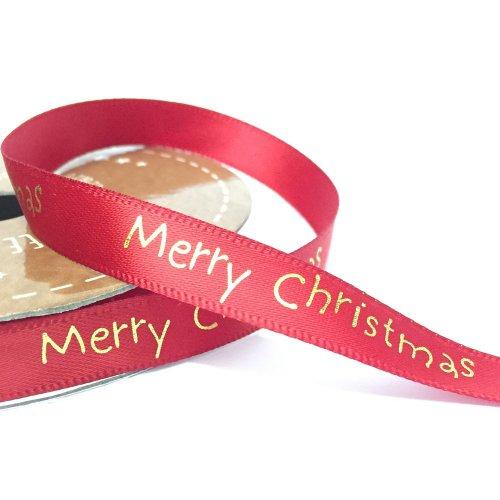Christmas Ribbon.10mm Bright Merry Christmas Ribbon Red