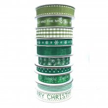 Festive Homespun Ribbon - Greens