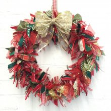 "Large 16"" inch Christmas Ribbon Wreath Kit"