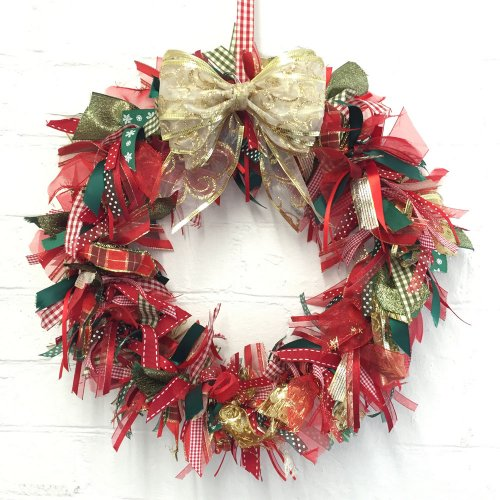Large 16 Inch Christmas Ribbon Wreath Kit