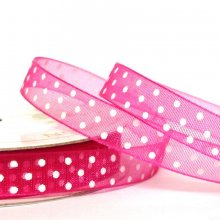 10mm Organza Ribbon Beauty / White Dots