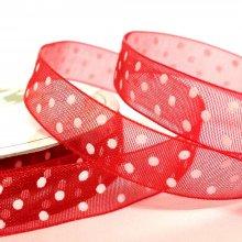 10mm Organza Ribbon Red / White Dots
