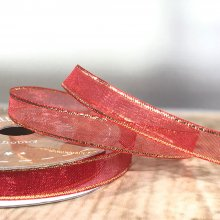 10mm Organza Ribbon Red with Gold Edge 50m