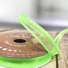 10mm Satin Edge Organza Ribbon Neon Lime