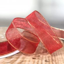 15mm Organza Ribbon Red with Gold Edge