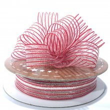 15mm Pull Bow Ribbon Red Stripe