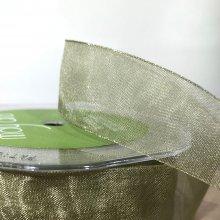 25mm Organza Ribbon Fern Green - 45m