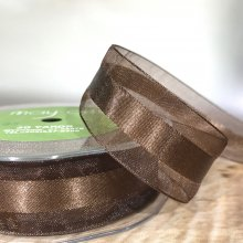 25mm Satin Centred Organza Chocolate - 27m