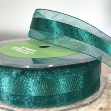 25mm Satin Centred Organza Forest Green - 27m