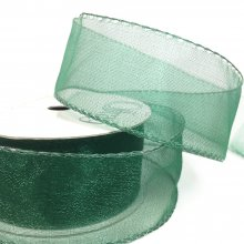 33mm Crystal Ribbon Forrest Green - Wired Edge