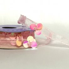 9mm Sheer Flower Trim Pink