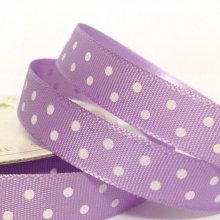 10mm Satin Ribbon Lilac with White Dots