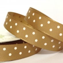 10mm Satin Ribbon Caramel with White Dots