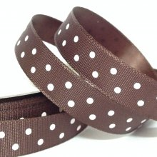 10mm Satin Ribbon Chocolate with White Dots