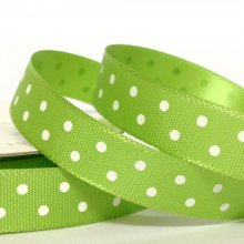 10mm Satin Ribbon Lime with White Dots - 50m BARGAIN