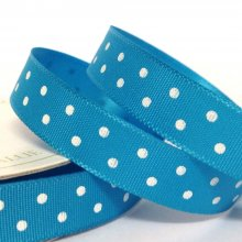 10mm Satin Ribbon Turquoise with White Dots