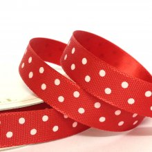 10mm Satin Ribbon Red with White Dots