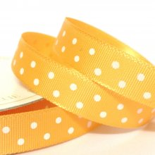 10mm Satin Ribbon Sunrise with White Dots
