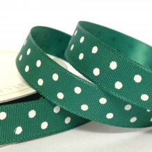 10mm Satin Ribbon Bottle Green with White Dots