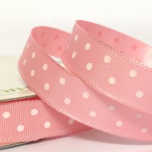 10mm Satin Ribbon Pale Pink with White Dots
