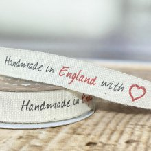 15mm Handmade in England with Love Ribbon -45m