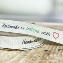 15mm Handmade in Ireland with Love Ribbon
