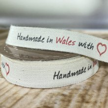 15mm Handmade in Wales with Love Ribbon