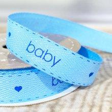 15mm Twill Baby Ribbon Blue