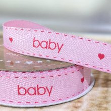 15mm Twill Baby Ribbon Pink