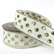 25mm Bubble Dots Ribbon - White & Gold - 20m