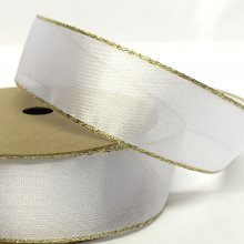 25mm Organza Ribbon White with Gold Wired Edge
