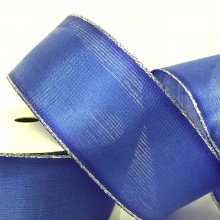 40mm Organza Ribbon Blue with Silver Wired Edge