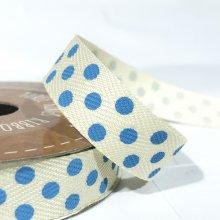 15mm Twill Dot Ribbon Cream / Light Blue Dots