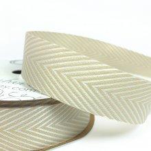 19mm Chevron Twill Ribbon Ivory