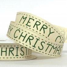 15mm Twill Ribbon Merry Christmas Green