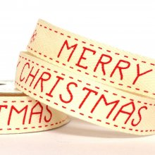 15mm Twill Ribbon Merry Christmas Red