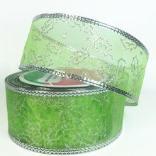 50mm Holly Lime & Silver Ribbon - Wired Edge