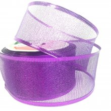 50mm Metallic Purple Ribbon - Wired Edge