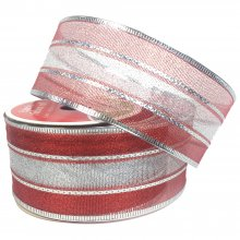 50mm Red with Silver Stripe Ribbon - Wired Edge