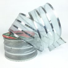 50mm Silver Stripe Ribbon - Wired Edge