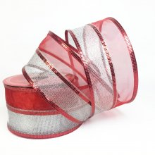 50mm Duo-Sparkle Red & Silver Ribbon - Wired Edge