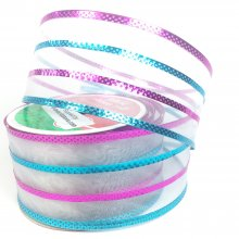 50mm Pink & Turquoise Stripe Ribbon - Wired Edge