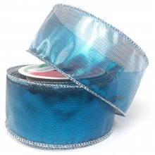 50mm Metallic Turquoise Ribbon - Wired Edge